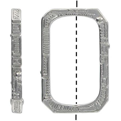Metal beads, 23x36mm rectangle, ring, nickel plated
