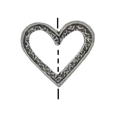 Metal beads, 21mm heart shaped, ring, antique silver plated lead free