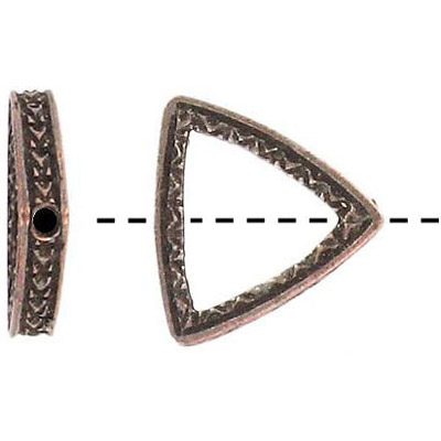 Metal beads, 18mm, triangular ring, antique copper, lead safe