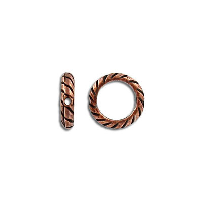 Metal beads, round ring, antique copper, lead safe