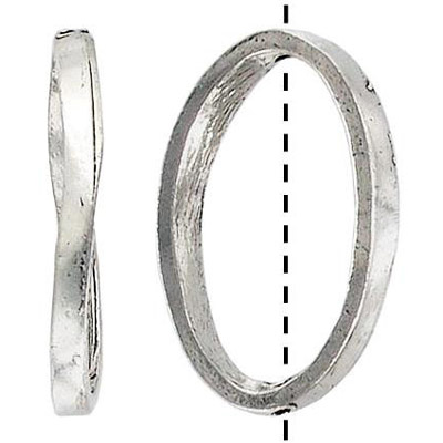 Metal beads, oval ring antique silver plated lead free