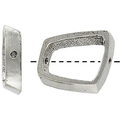 Metal beads, rectangle ring antique silver plated lead free