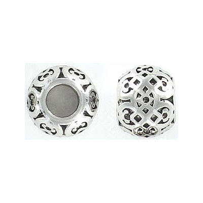 Metal beads, 12mm, inside diameter 5mm, stainless steel, grade 316L