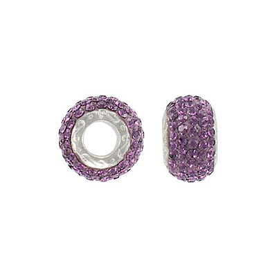Sterling silver bead 13x8mm, large hole, amethyst