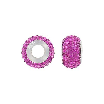 Sterling silver bead, 13x8mm, large hole, fuchsia