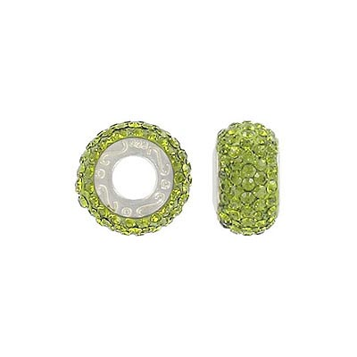 Sterling silver bead 13x8mm, large hole, olivine stones