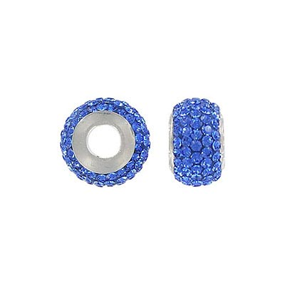 Sterling silver bead 13x8mm, large hole, sapphire stones