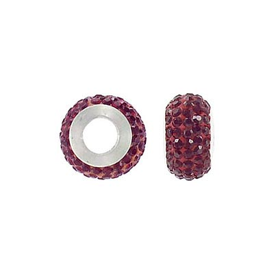 Sterling silver bead, 13x8mm, large hole, siam