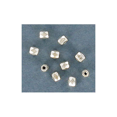 Plastic bead, 3mm, faceted, 1.15mm inside diameter, silver plate