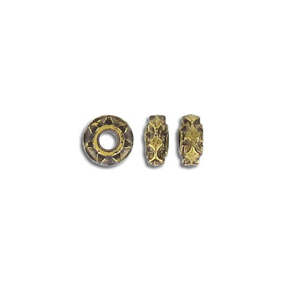 Plastic bead, 8mm, rondelle, antique gold plate