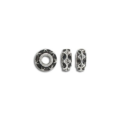 Plastic bead, 8mm, rondelle, antique silver plate