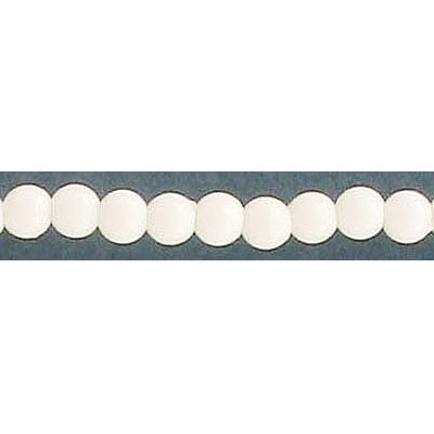 Plastic bead, 4mm, white, 60 inch strand