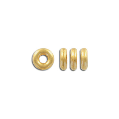 Plastic donut bead, 10mm, matte gold