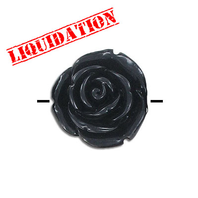 Plastic bead, resin rose, 25mm, black, 20 beads per strand