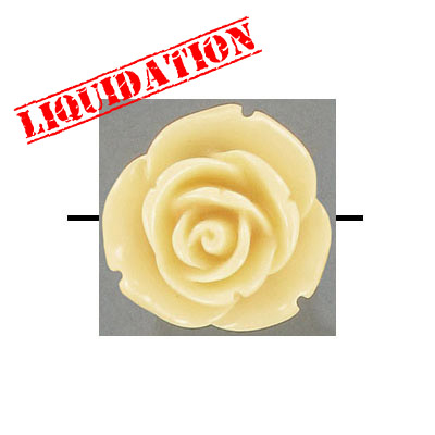 Plastic bead, resin rose, 25mm, cream, 20 beads per strand