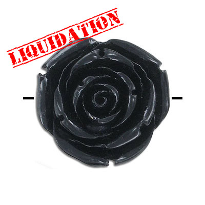 Plastic bead, resin rose, 35mm, black, 10 beads per strand