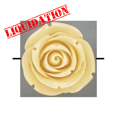 Plastic bead, resin rose, 35mm, cream, 10 beads per strand