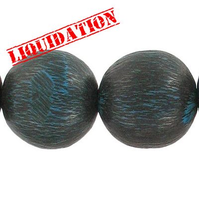 Resin beads, 8 round blue brushed