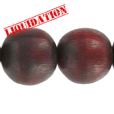 Resin beads, 8 round red brushed