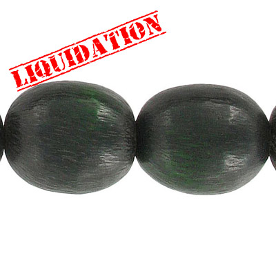 Resin beads, 8 oval green brushed