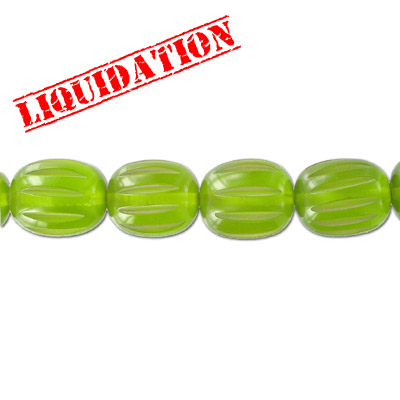 Resin beads, carved oval khaki green
