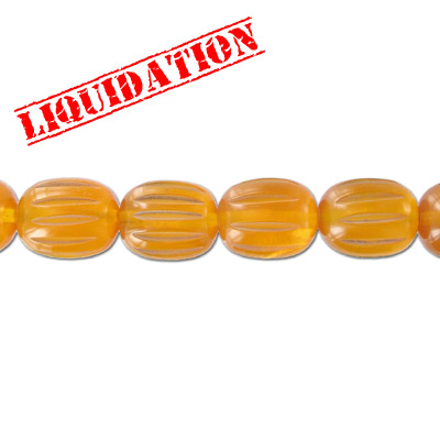 Resin beads, carved oval amber