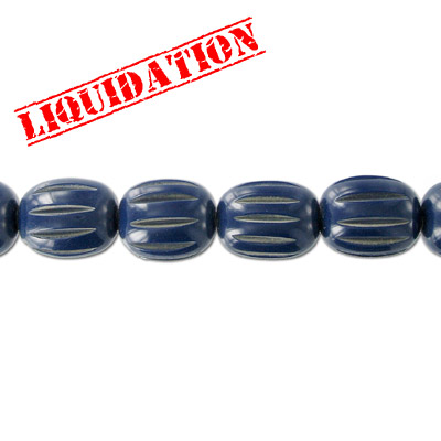 Resin beads, carved oval dark blue