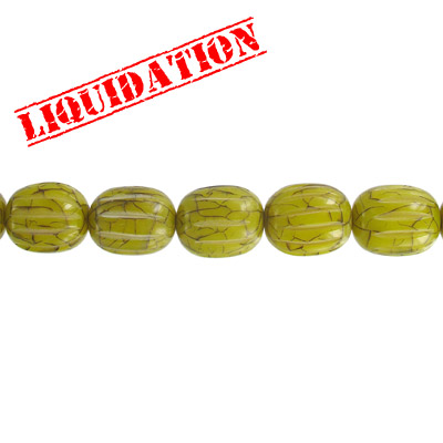 Resin beads, carved oval cracked green