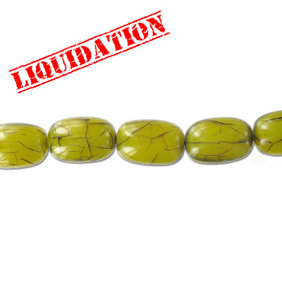 Resin beads, oval cracked green