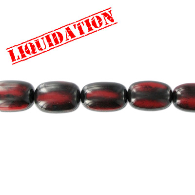 Resin beads, oval antique red