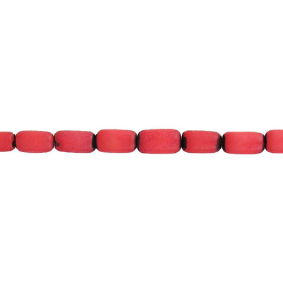 Wood bead, burie bead cylinder, 11x6mm, red, 16 inch strand