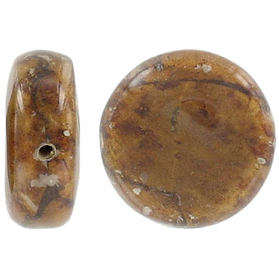 Dried laminated leaf bead, 25mm disk