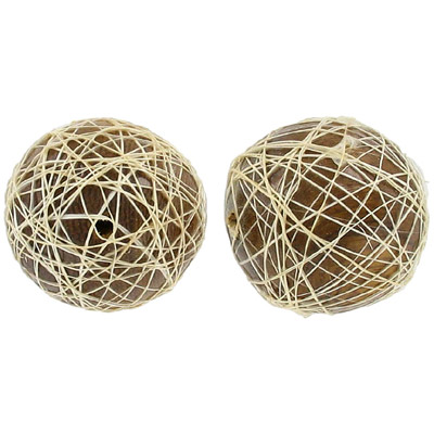 Abaca wrapped wood bead, 28mm round robles