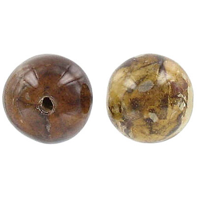 Laminated dried leaves bead, 14mm round