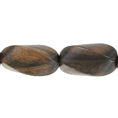 Wood bead, 14x25mm, twisted bead, kamagong wood, 16 inch strand