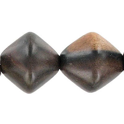 Wood bead, 17x20mm, diamond shape, kamagong wood, 16 inch strand