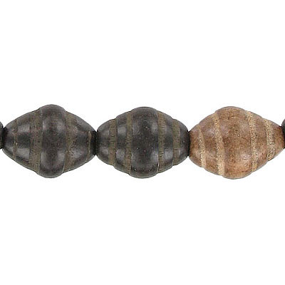 Wood bead, 12x15mm with groove, kamagong wood, 16 inch strand