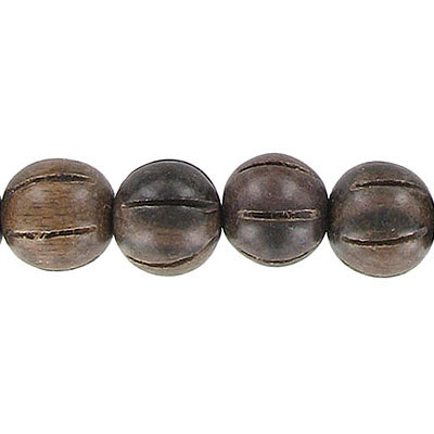 Wood bead, 12mm, round, carved, kamagong wood, 16 inch strand