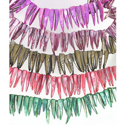 River shell drops, assorted colors, 16 inch strand