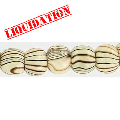 Wood bead, round 10mm size, mixed zebra stripe, 17 inch strand, 50 pieces