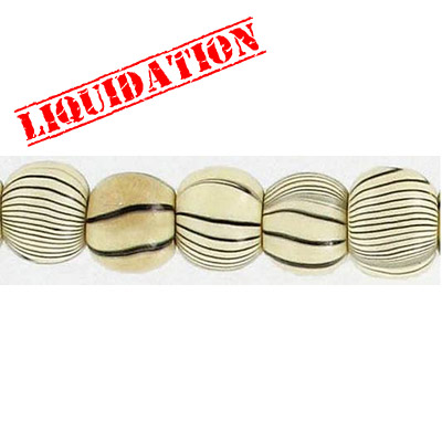 Wood bead, round 10mm size, natural zebra stripe, 17 inch strand, 50 pieces