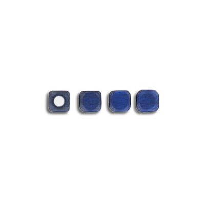 Wood bead, 4mm, square, blue