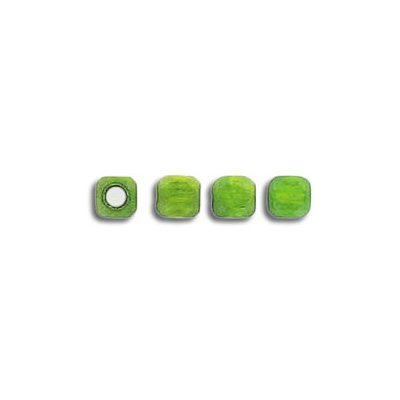 Wood bead,  4mm, square,  green