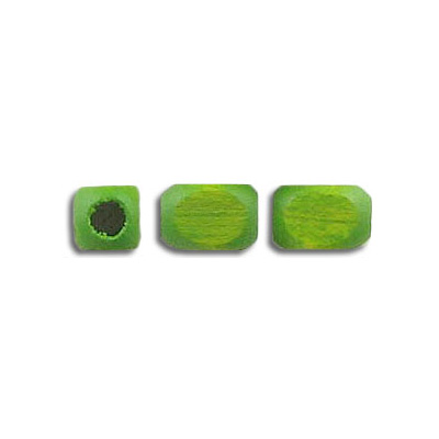 Wood bead, 6x7.5mm, lime