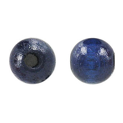 Wood bead, 12mm, round, lacquered, blue