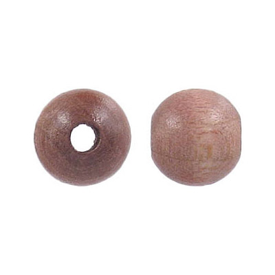 Wood bead, 12mm, round, laquered, taupe