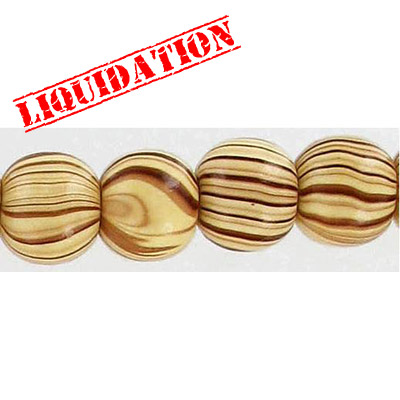 Wood bead, round 12mm size, brown zebra stripe, 17 inch strand, 44 pieces