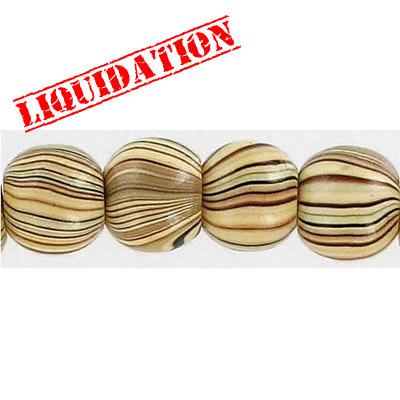 Wood bead, round 12mm size, mixed zebra stripe, 17 inch strand, 44 pieces