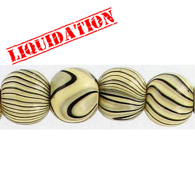 Wood bead, round 12mm size, natural zebra stripe, 17 inch strand, 44 pieces