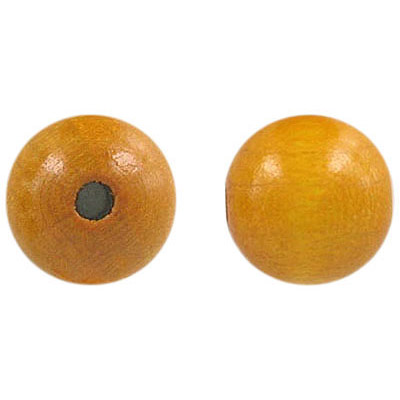 Wood bead, 14mm, round, laquerted, mustard